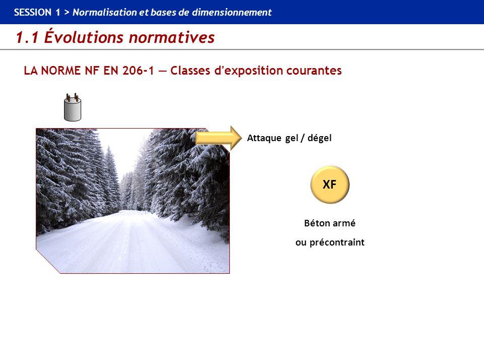 1.1 Évolutions normatives SESSION 1 > Normalisation et bases de dimensionnement LA NORME NF EN 206-1 Classes dexposition courantes Attaque gel / dégel