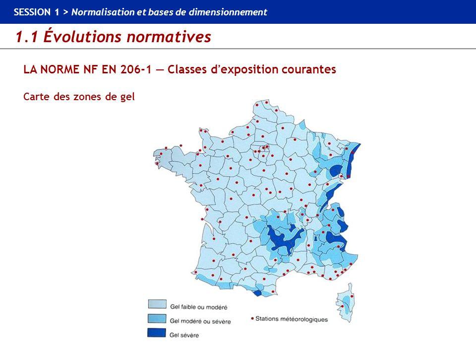 1.1 Évolutions normatives SESSION 1 > Normalisation et bases de dimensionnement LA NORME NF EN 206-1 Classes dexposition courantes Carte des zones de
