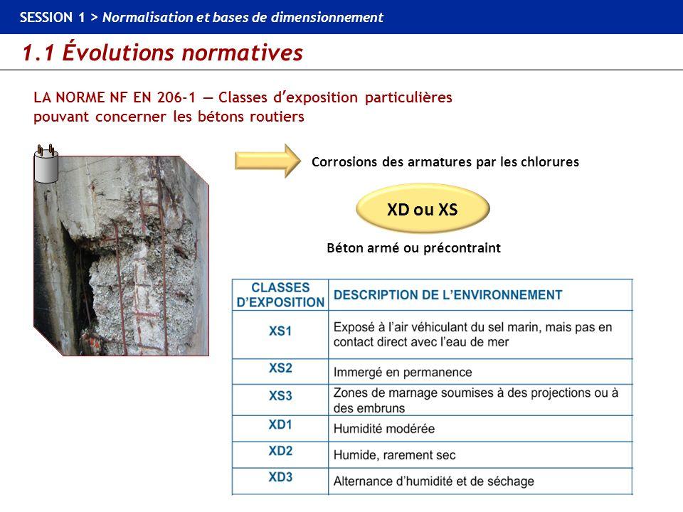 1.1 Évolutions normatives SESSION 1 > Normalisation et bases de dimensionnement LA NORME NF EN 206-1 Classes dexposition particulières pouvant concern