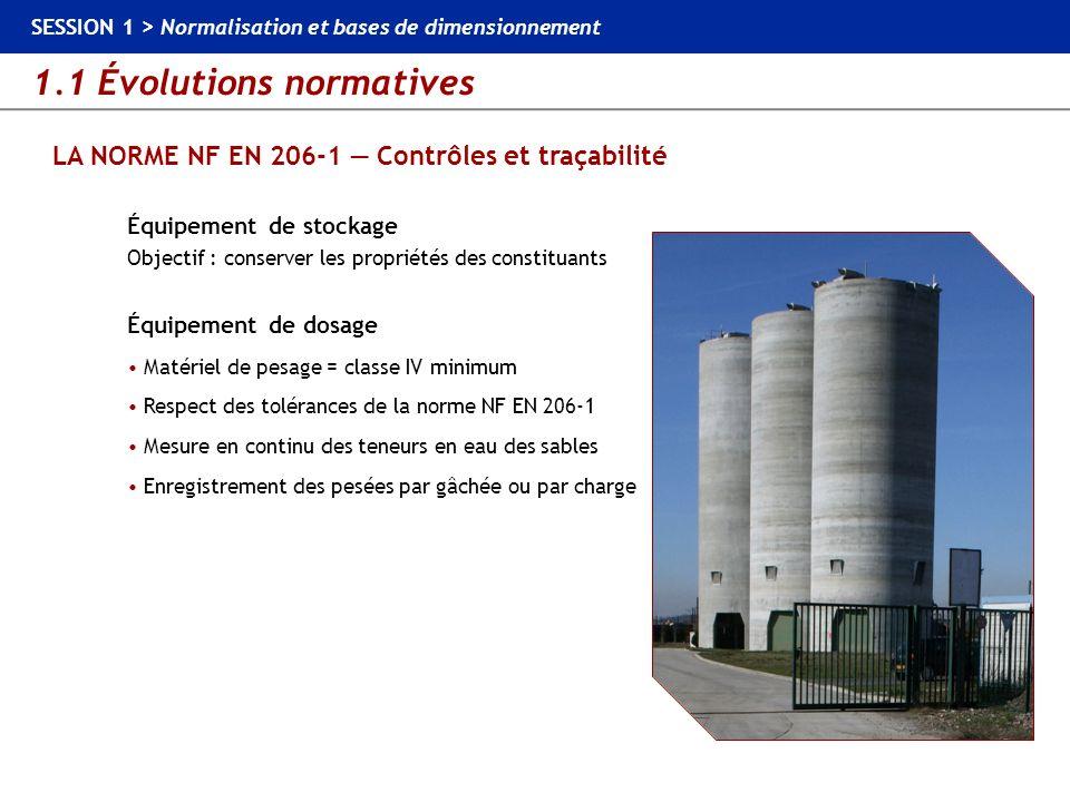 1.1 Évolutions normatives SESSION 1 > Normalisation et bases de dimensionnement LA NORME NF EN 206-1 Contrôles et traçabilité Équipement de stockage O