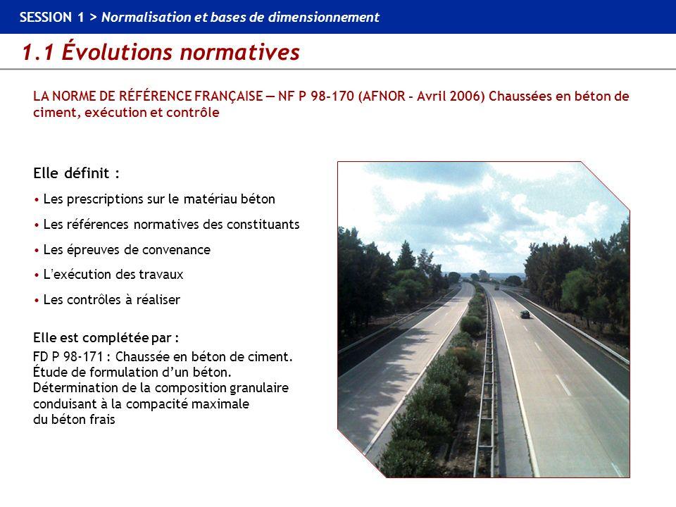1.1 Évolutions normatives SESSION 1 > Normalisation et bases de dimensionnement LA NORME DE RÉFÉRENCE FRANÇAISE NF P 98-170 (AFNOR - Avril 2006) Chaus