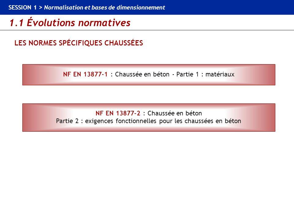 1.1 Évolutions normatives SESSION 1 > Normalisation et bases de dimensionnement LES NORMES SPÉCIFIQUES CHAUSSÉES NF EN 13877-1 : Chaussée en béton - P