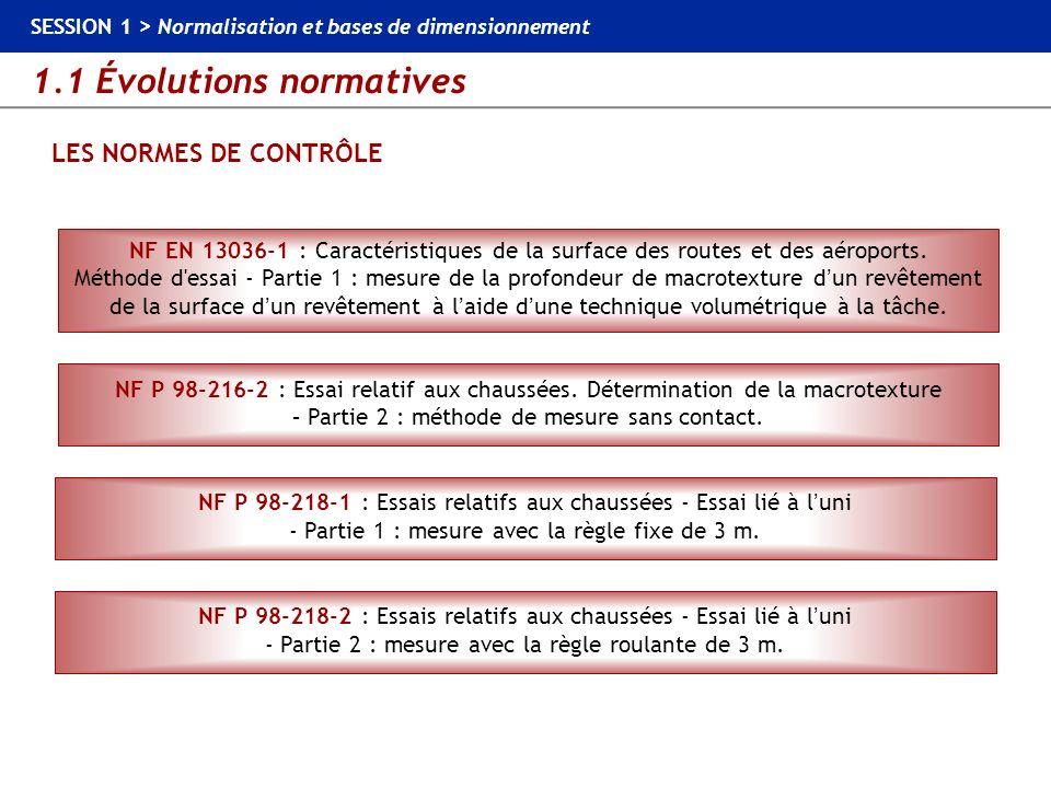 1.1 Évolutions normatives SESSION 1 > Normalisation et bases de dimensionnement LES NORMES DE CONTRÔLE NF EN 13036-1 : Caractéristiques de la surface