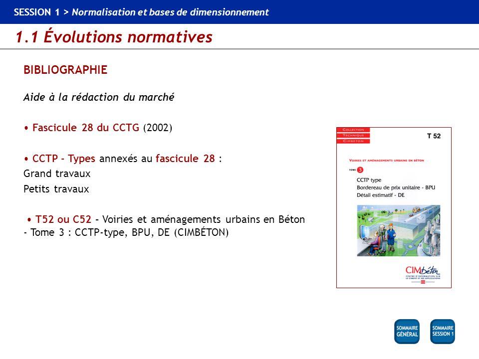 1.1 Évolutions normatives SESSION 1 > Normalisation et bases de dimensionnement BIBLIOGRAPHIE Aide à la rédaction du marché Fascicule 28 du CCTG (2002
