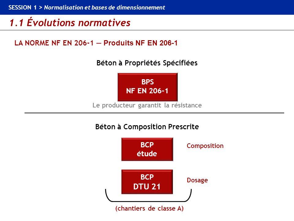1.1 Évolutions normatives SESSION 1 > Normalisation et bases de dimensionnement LES NORMES MATÉRIAUX Normes constituants du béton Ciments : NF EN 197-1 Granulats : NF EN 12620 + XP P 18-545 Eau de gâchage : NF EN 1008 Adjuvants : NF EN 934-2 Aciers : NF EN 10080 NF EN 13877-3 : Chaussée en béton – Partie 3 : spécifications relatives aux goujons.