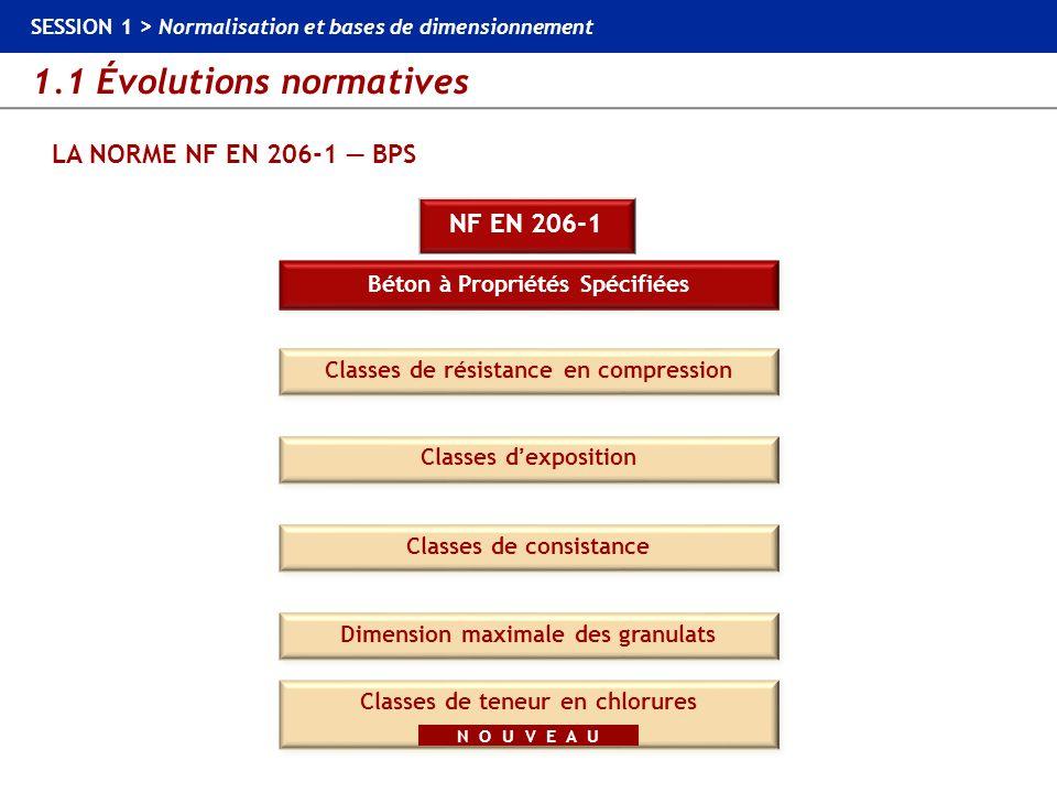 1.1 Évolutions normatives SESSION 1 > Normalisation et bases de dimensionnement LA NORME NF EN 206-1 BPS …, C30/37, … Classes de résistance en compression BPS NF EN 206-1