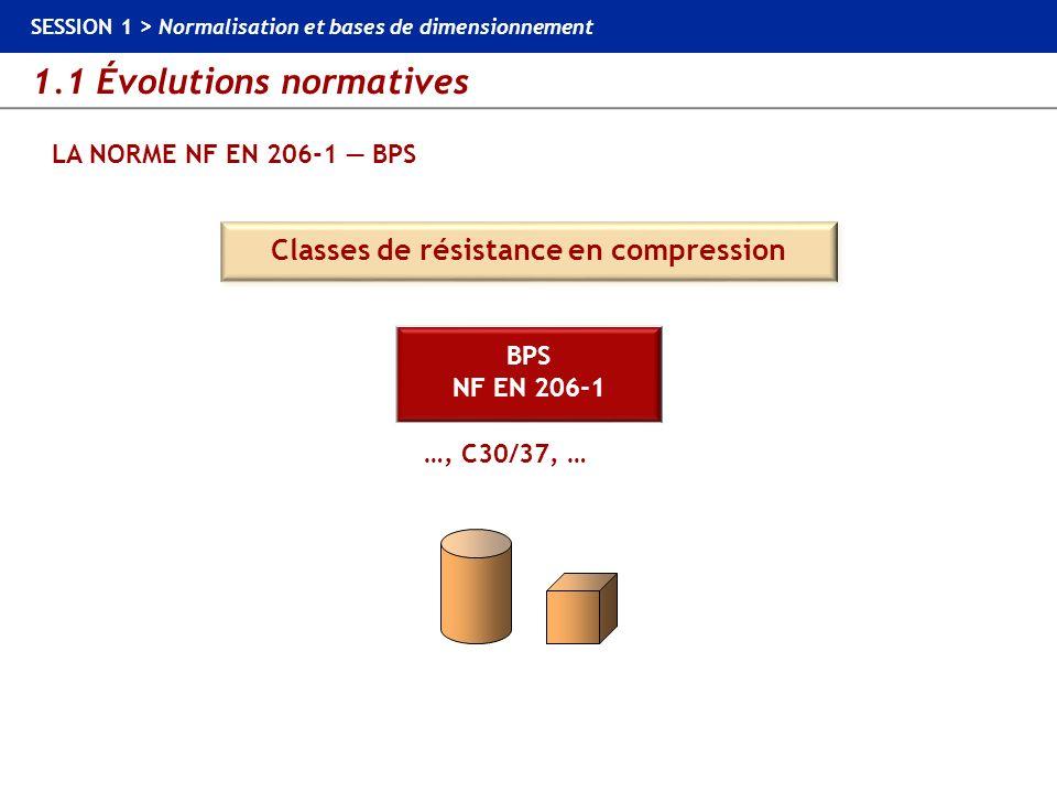 1.1 Évolutions normatives SESSION 1 > Normalisation et bases de dimensionnement LA NORME NF EN 206-1 BPS 30 MPa C30/37 (béton normal ou béton lourd) Cylindre Cube Valeur prise en compte dans les calculs de dimensionnement Classes de résistance en compression 37 MPa