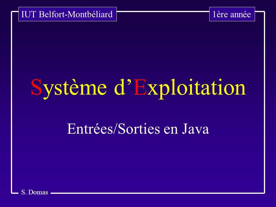 S. Domas Système dExploitation Entrées/Sorties en Java 1ère annéeIUT Belfort-Montbéliard