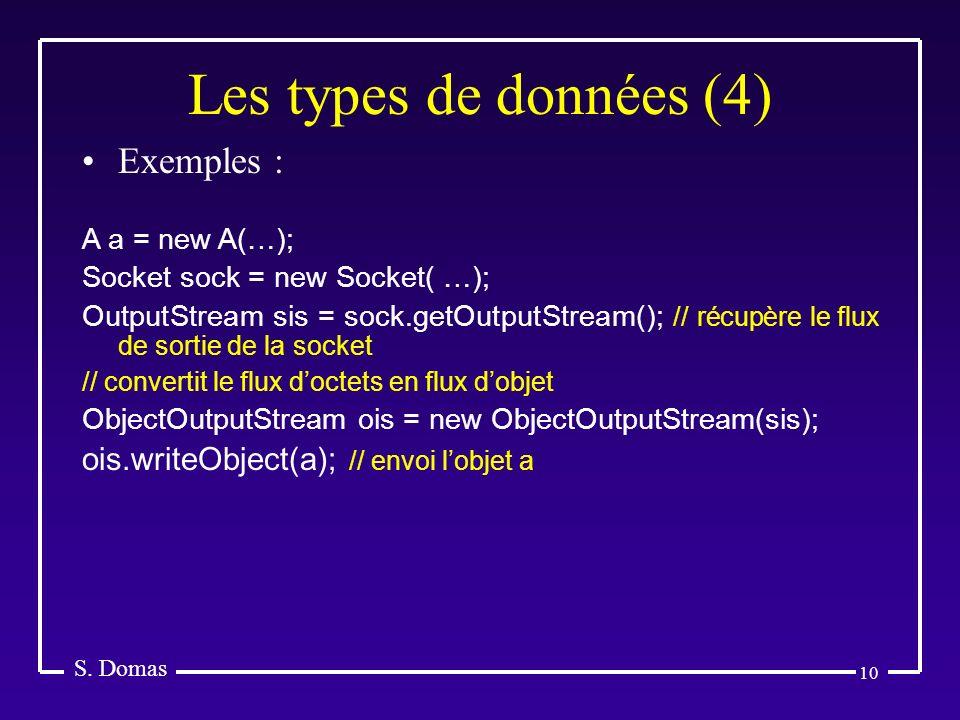 10 Les types de données (4) S. Domas Exemples : A a = new A(…); Socket sock = new Socket( …); OutputStream sis = sock.getOutputStream(); // récupère l