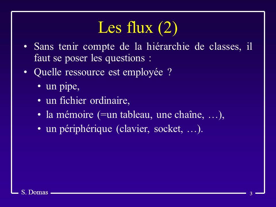 3 Les flux (2) S. Domas Sans tenir compte de la hiérarchie de classes, il faut se poser les questions : Quelle ressource est employée ? un pipe, un fi