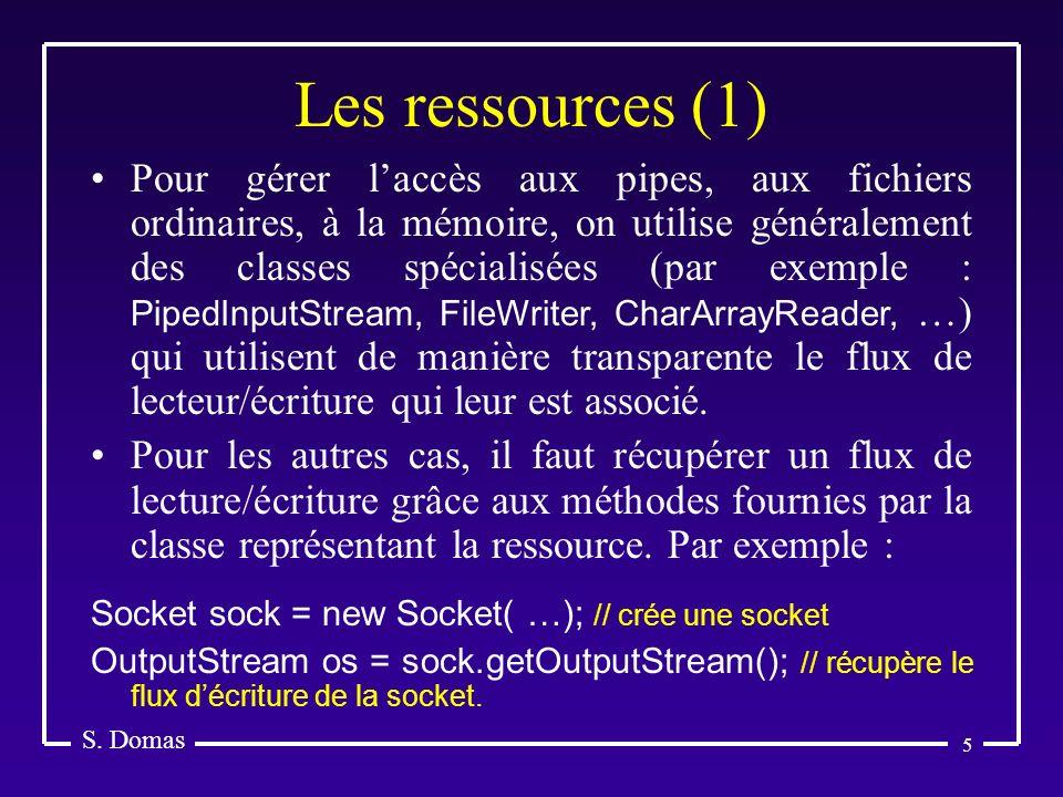5 Les ressources (1) S. Domas Pour gérer laccès aux pipes, aux fichiers ordinaires, à la mémoire, on utilise généralement des classes spécialisées (pa