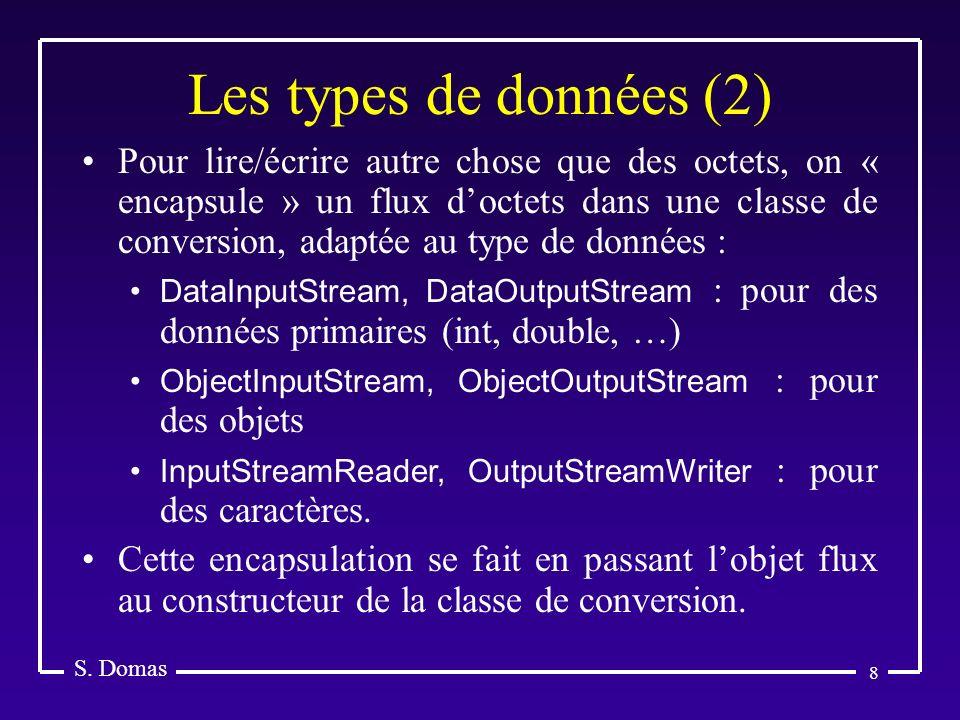 8 Les types de données (2) S. Domas Pour lire/écrire autre chose que des octets, on « encapsule » un flux doctets dans une classe de conversion, adapt