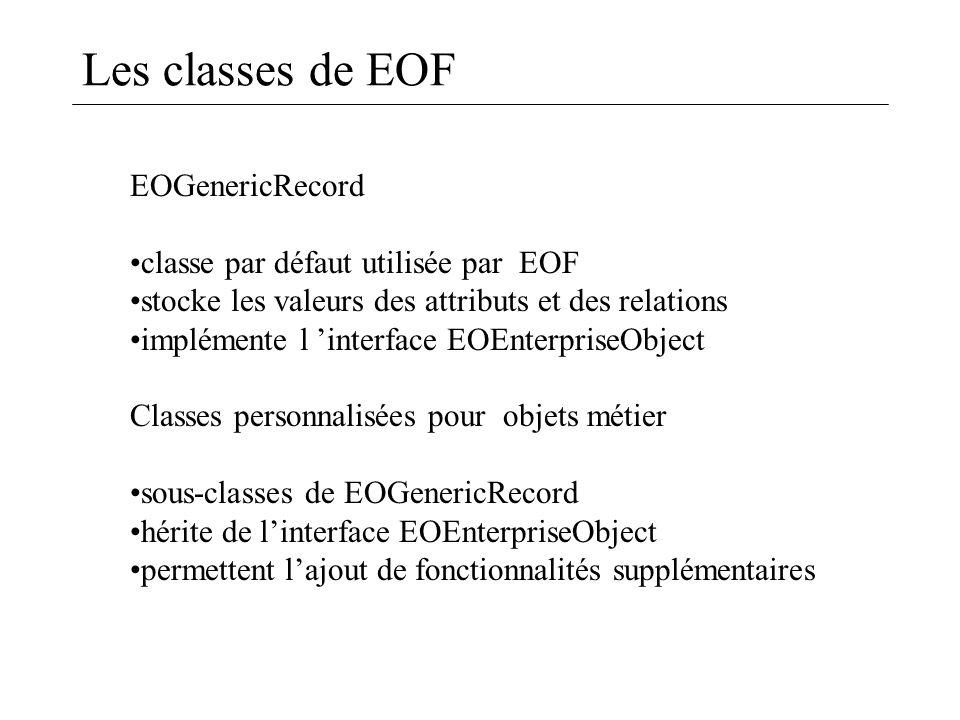 Les classes de EOF EOGenericRecord classe par défaut utilisée par EOF stocke les valeurs des attributs et des relations implémente l interface EOEnter