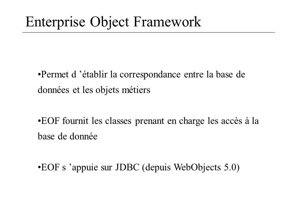 Enterprise Object Framework Permet d établir la correspondance entre la base de données et les objets métiers EOF fournit les classes prenant en charg