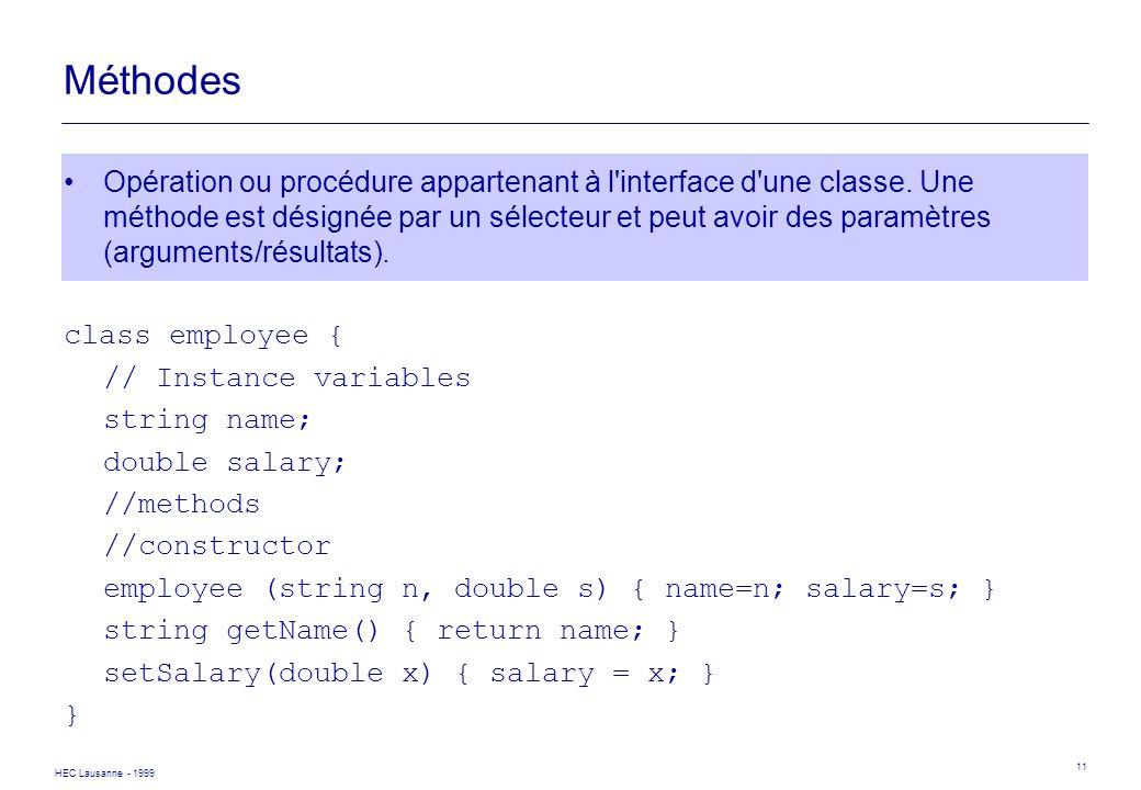 HEC Lausanne - 1999 11 Méthodes Opération ou procédure appartenant à l'interface d'une classe. Une méthode est désignée par un sélecteur et peut avoir