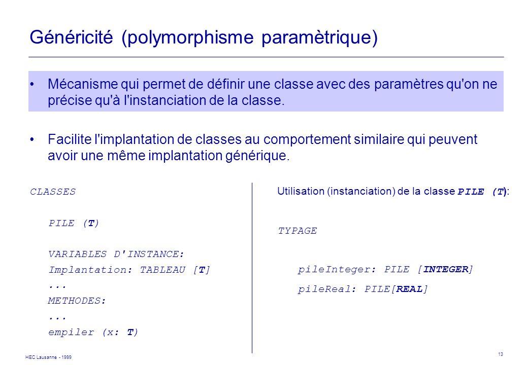 HEC Lausanne - 1999 13 Généricité (polymorphisme paramètrique) Mécanisme qui permet de définir une classe avec des paramètres qu'on ne précise qu'à l'