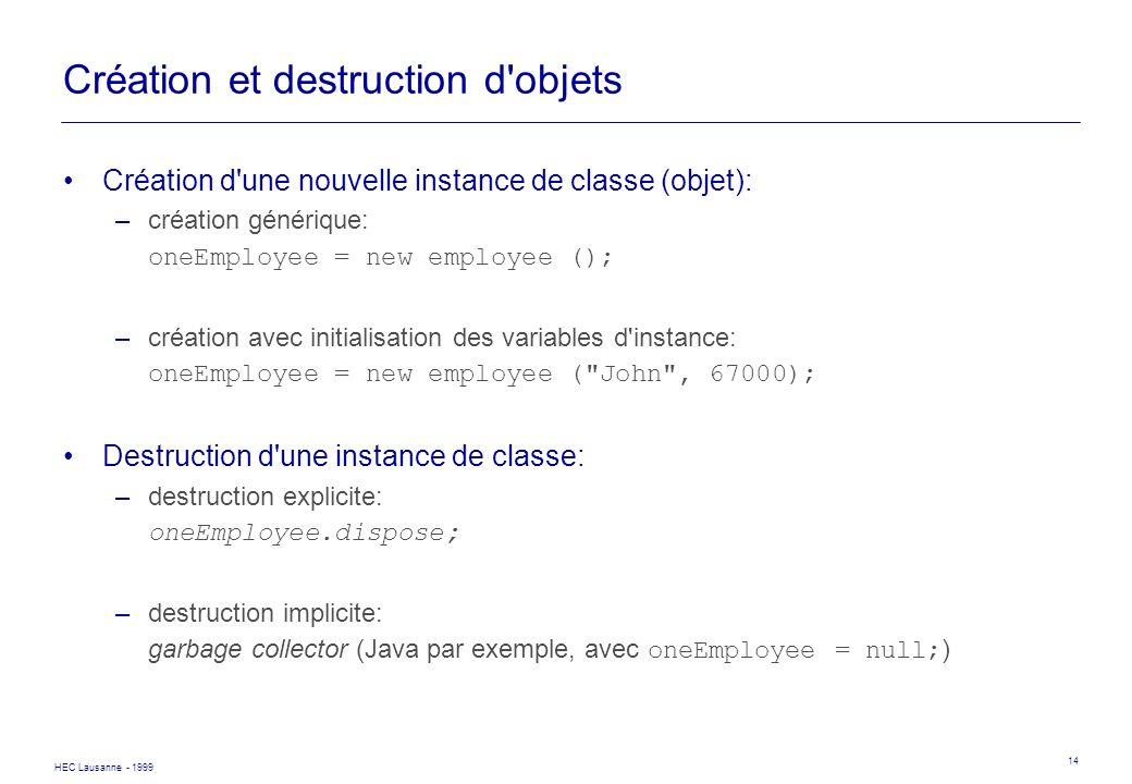 HEC Lausanne - 1999 14 Création et destruction d'objets Création d'une nouvelle instance de classe (objet): –création générique: oneEmployee = new emp