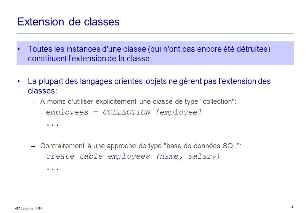 HEC Lausanne - 1999 15 Extension de classes Toutes les instances d'une classe (qui n'ont pas encore été détruites) constituent l'extension de la class