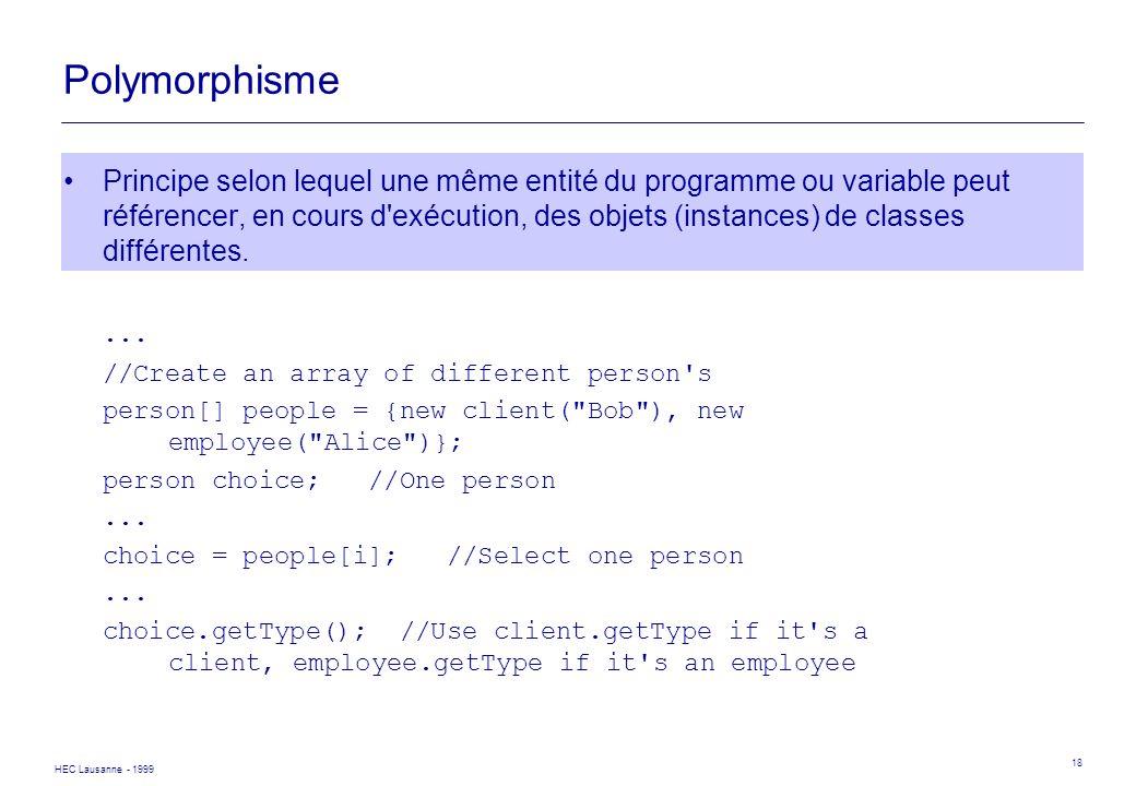 HEC Lausanne - 1999 18 Polymorphisme Principe selon lequel une même entité du programme ou variable peut référencer, en cours d'exécution, des objets