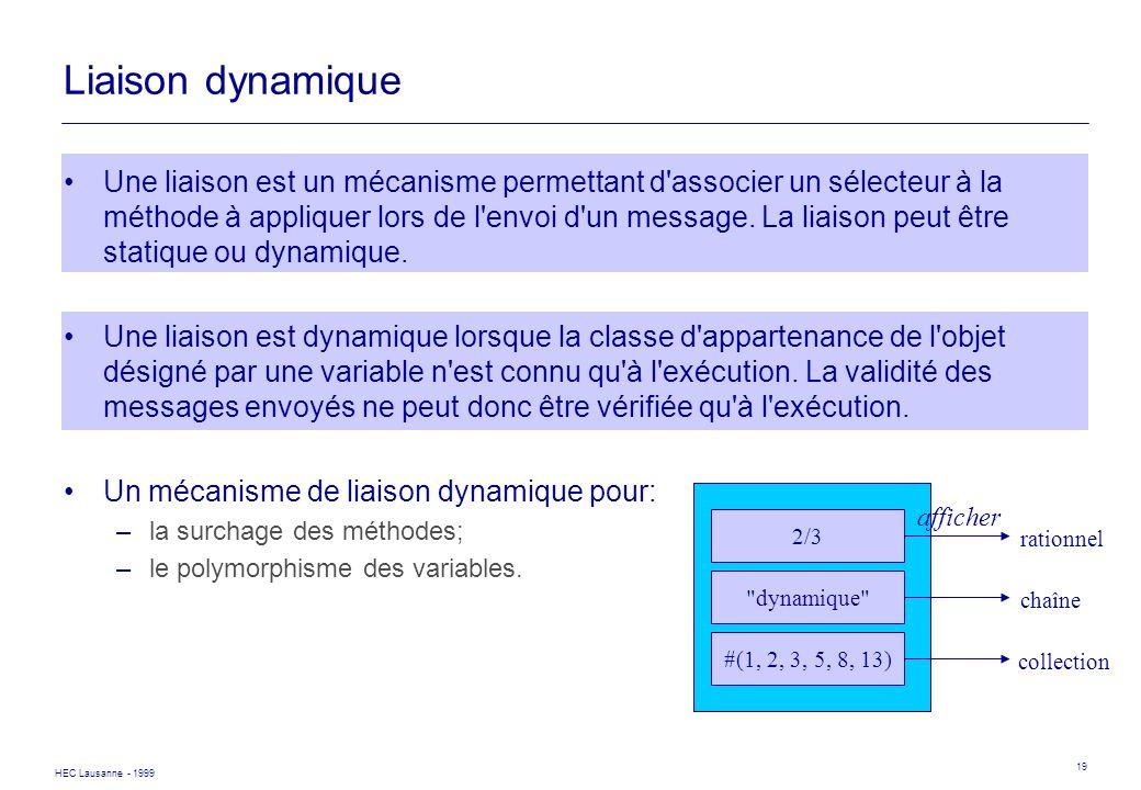 HEC Lausanne - 1999 19 Liaison dynamique Une liaison est un mécanisme permettant d'associer un sélecteur à la méthode à appliquer lors de l'envoi d'un