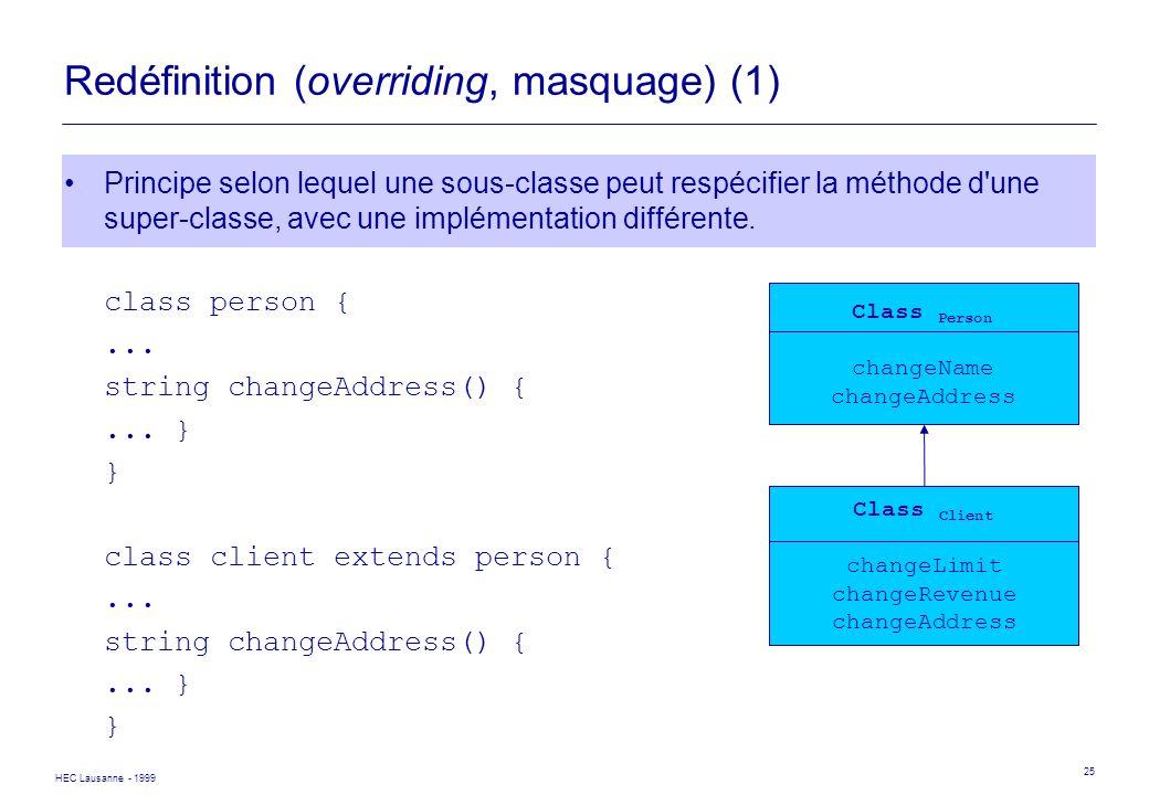 HEC Lausanne - 1999 25 Redéfinition (overriding, masquage) (1) Principe selon lequel une sous-classe peut respécifier la méthode d'une super-classe, a