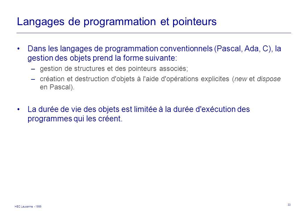 HEC Lausanne - 1999 33 Langages de programmation et pointeurs Dans les langages de programmation conventionnels (Pascal, Ada, C), la gestion des objet