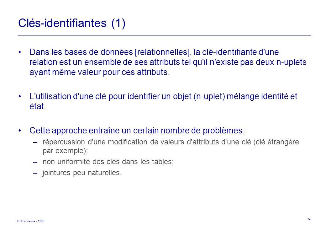 HEC Lausanne - 1999 34 Clés-identifiantes (1) Dans les bases de données [relationnelles], la clé-identifiante d'une relation est un ensemble de ses at