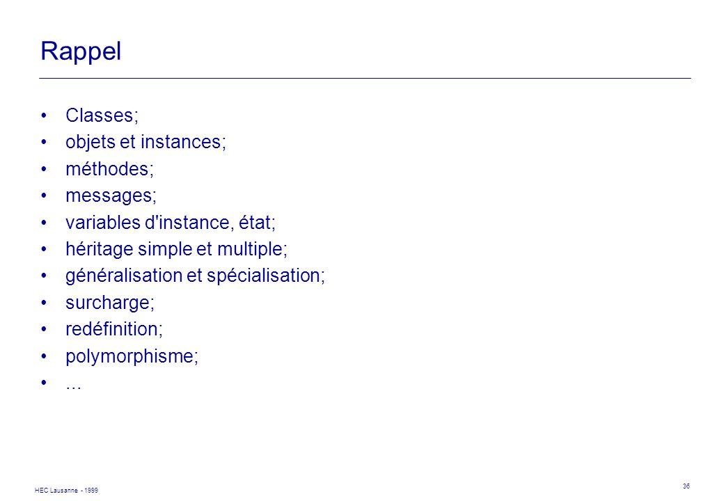 HEC Lausanne - 1999 36 Rappel Classes; objets et instances; méthodes; messages; variables d'instance, état; héritage simple et multiple; généralisatio