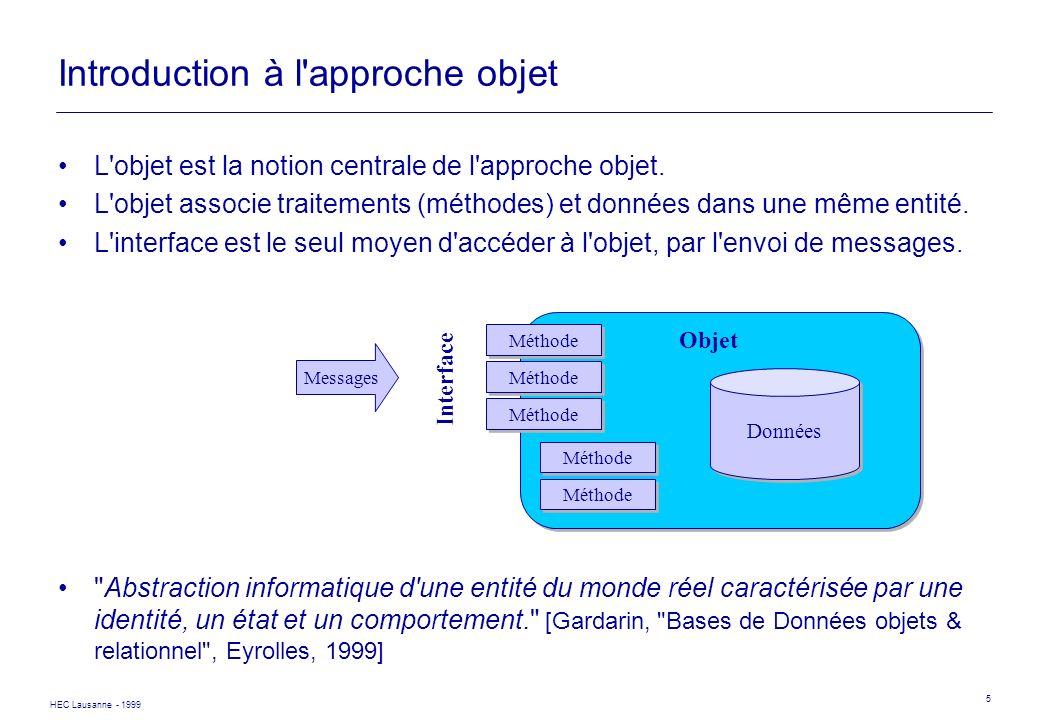 HEC Lausanne - 1999 5 Introduction à l'approche objet L'objet est la notion centrale de l'approche objet. L'objet associe traitements (méthodes) et do
