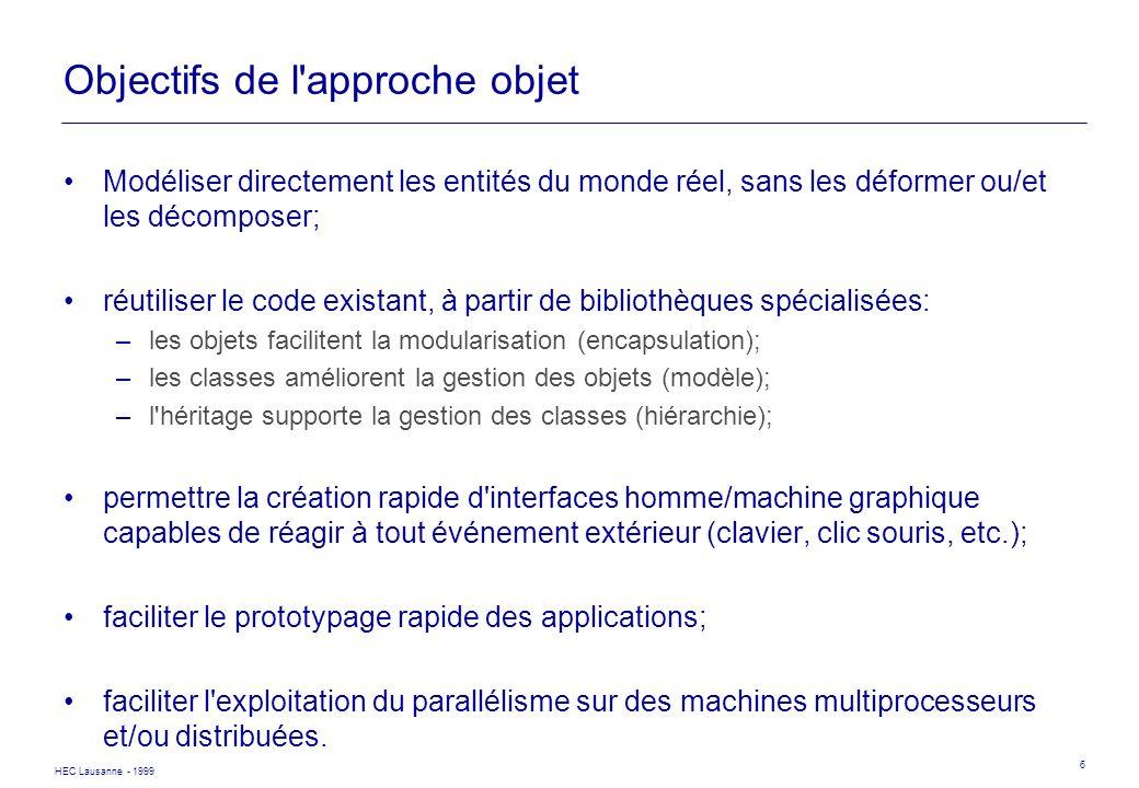 HEC Lausanne - 1999 6 Objectifs de l'approche objet Modéliser directement les entités du monde réel, sans les déformer ou/et les décomposer; réutilise