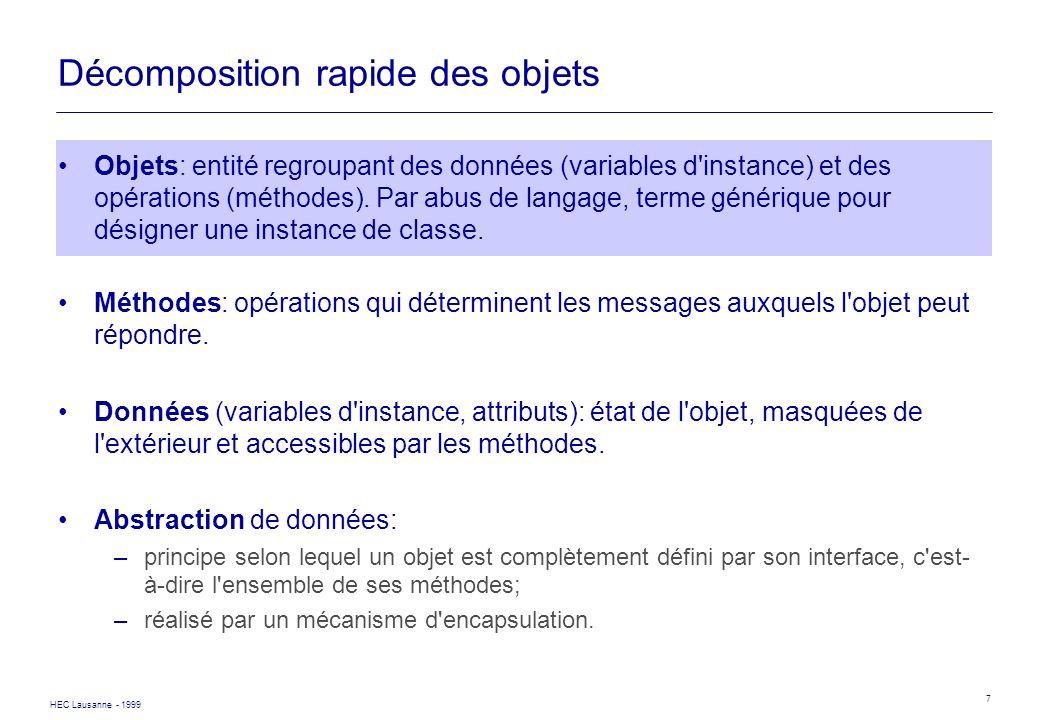HEC Lausanne - 1999 7 Décomposition rapide des objets Objets: entité regroupant des données (variables d'instance) et des opérations (méthodes). Par a