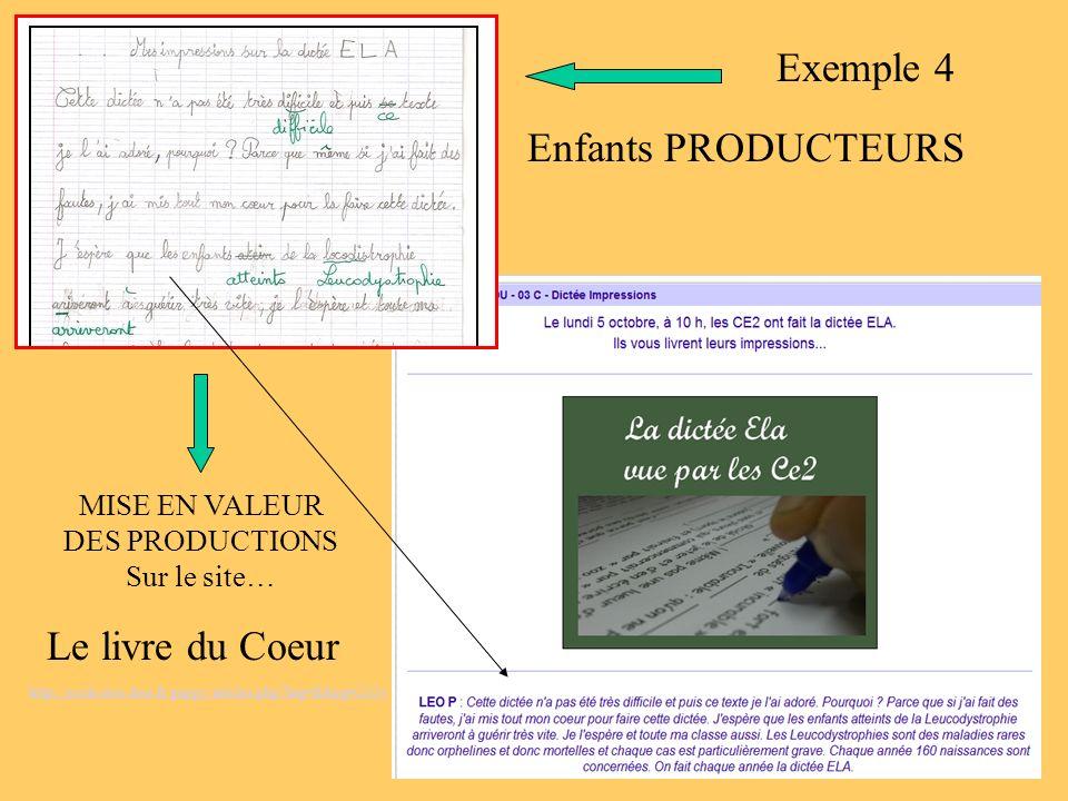 Enfants PRODUCTEURS MISE EN VALEUR DES PRODUCTIONS Sur le site… Le livre du Coeur http://ecole.stex.free.fr/guppy/articles.php?lng=fr&pg=2104 Exemple