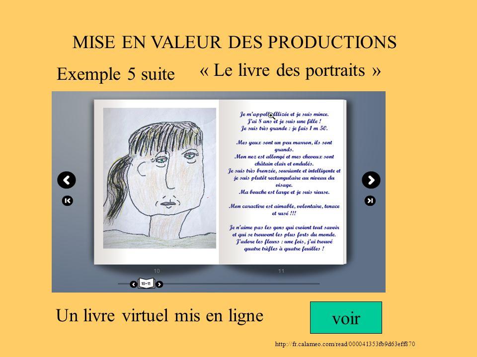 MISE EN VALEUR DES PRODUCTIONS Un livre virtuel mis en ligne voir http://fr.calameo.com/read/000041353fb9d63eff870 « Le livre des portraits » Exemple