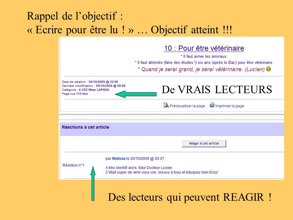 De VRAIS LECTEURS Des lecteurs qui peuvent REAGIR ! Rappel de lobjectif : « Ecrire pour être lu ! » … Objectif atteint !!!