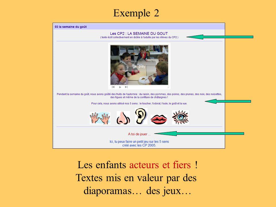 Les enfants acteurs et fiers ! Textes mis en valeur par des diaporamas… des jeux… Exemple 2