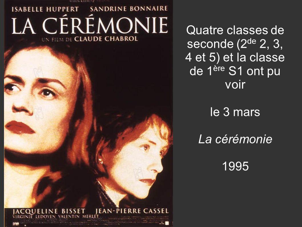 Quatre classes de seconde (2 de 2, 3, 4 et 5) et la classe de 1 ère S1 ont pu voir le 3 mars La cérémonie 1995