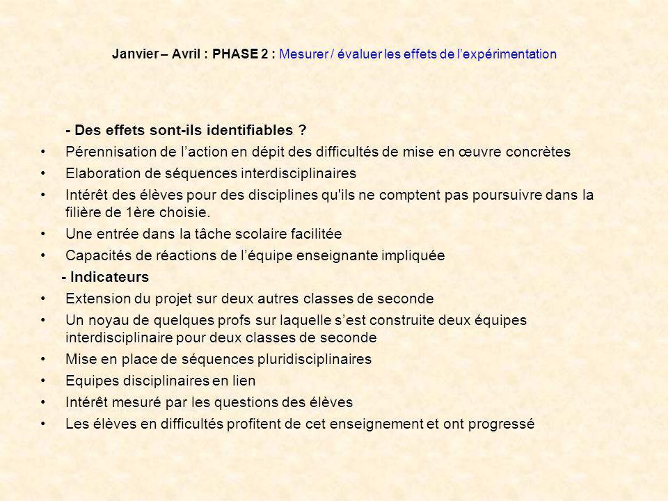 Janvier – Avril : PHASE 2 : Mesurer / évaluer les effets de lexpérimentation - Des effets sont-ils identifiables .