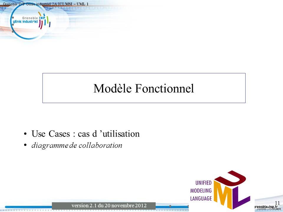 Michel Tollenaere version 2.1 du 20 novembre 2012 Grenoble INP Génie industriel 2A ICL MSI – UML 1 12 Représente les fonctions du système de point de vue de l utilisateur.