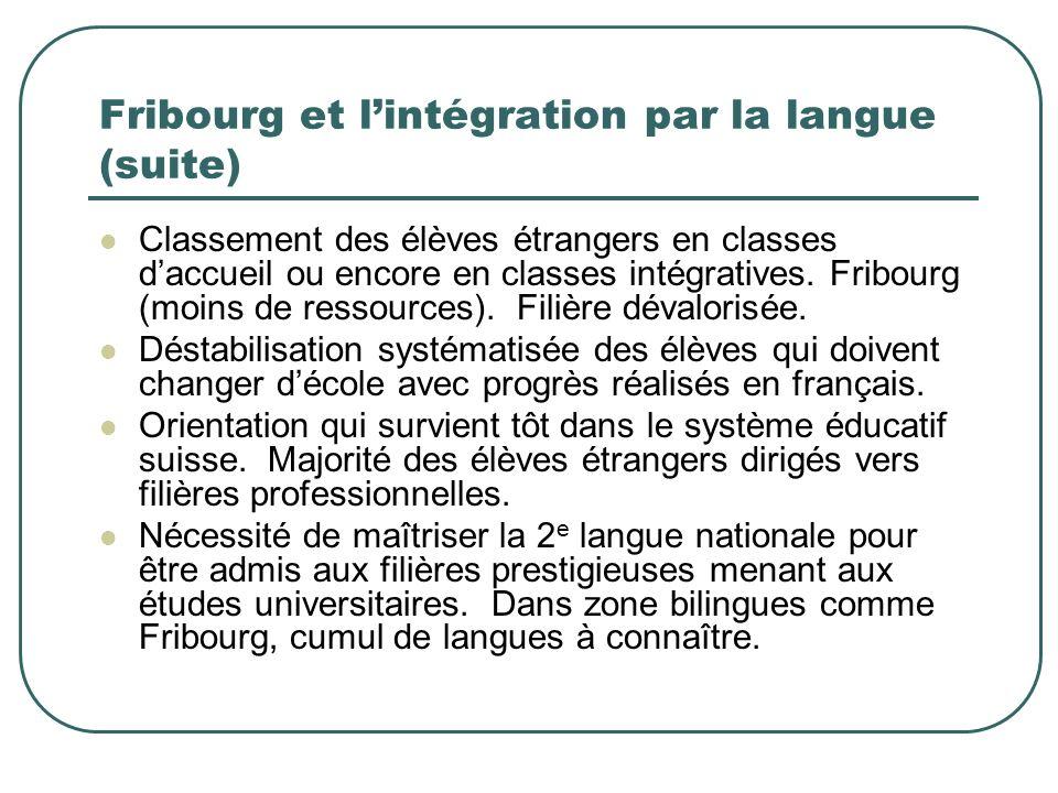 Fribourg et lintégration par la langue (suite) Représentation sociale de lélève étranger (à la région ou au pays) se conceptualise dans la distance où il se situe vis-à-vis la norme linguistique officielle et les langues nationales minoritaires.