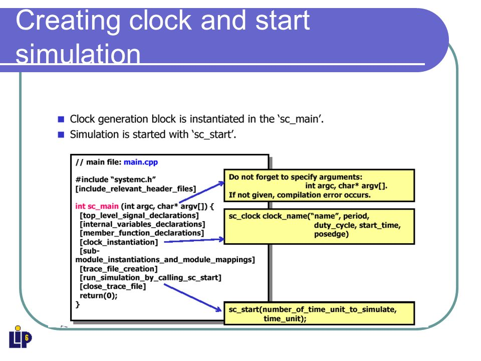 Creating clock and start simulation