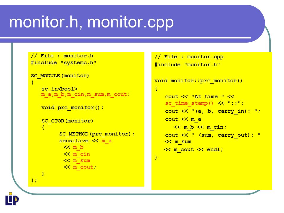 monitor.h, monitor.cpp // File : monitor.h #include