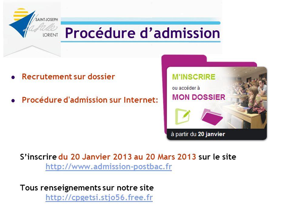 Procédure dadmission Recrutement sur dossier Procédure d'admission sur Internet: Sinscrire du 20 Janvier 2013 au 20 Mars 2013 sur le site http://www.a