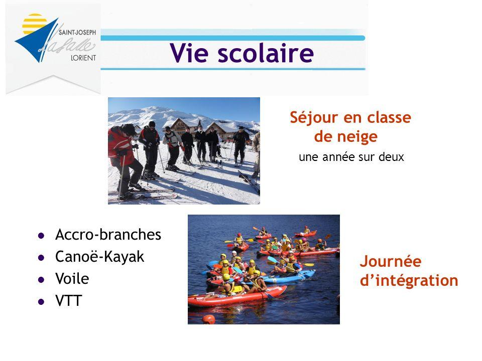 Vie scolaire Accro-branches Canoë-Kayak Voile VTT Séjour en classe de neige une année sur deux Journée dintégration