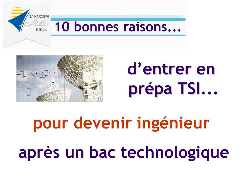 pour devenir ingénieur après un bac technologique dentrer en prépa TSI... 10 bonnes raisons...