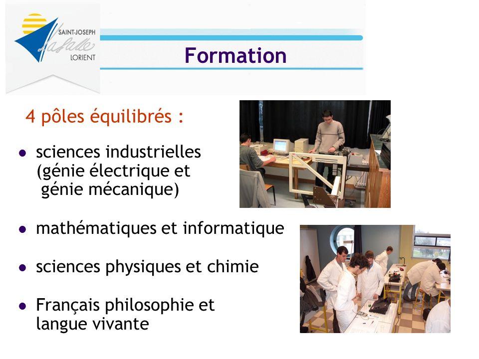 Formation sciences industrielles (génie électrique et génie mécanique) mathématiques et informatique sciences physiques et chimie Français philosophie
