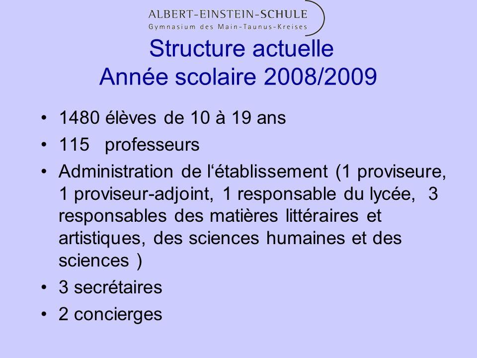 Structure actuelle Année scolaire 2008/2009 1480 élèves de 10 à 19 ans 115 professeurs Administration de létablissement (1 proviseure, 1 proviseur-adj