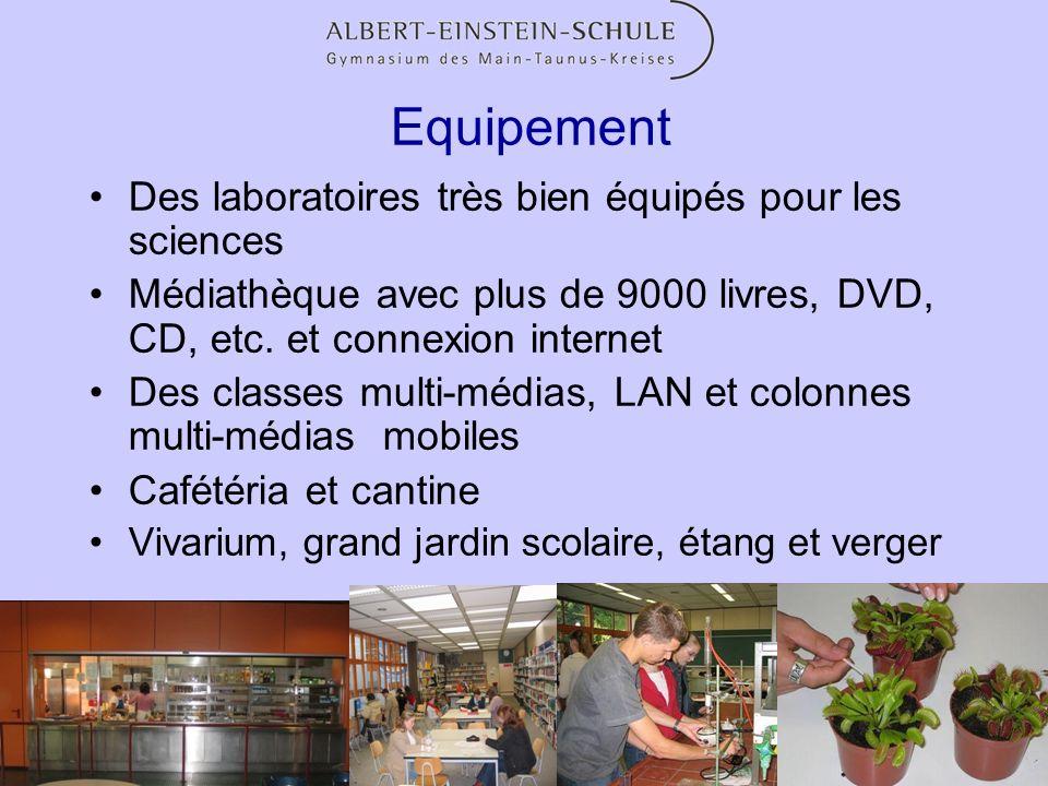 Equipement Des laboratoires très bien équipés pour les sciences Médiathèque avec plus de 9000 livres, DVD, CD, etc. et connexion internet Des classes