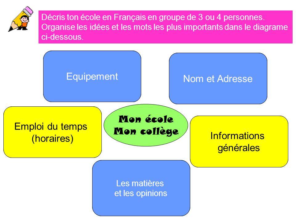 Décris ton école en Français en groupe de 3 ou 4 personnes.