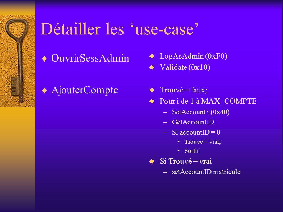 Détailler les use-case OuvrirSessAdmin AjouterCompte LogAsAdmin (0xF0) Validate (0x10) Trouvé = faux; Pour i de 1 à MAX_COMPTE –SetAccount i (0x40) –GetAccountID –Si accountID = 0 Trouvé = vrai; Sortir Si Trouvé = vrai –setAccountID matricule