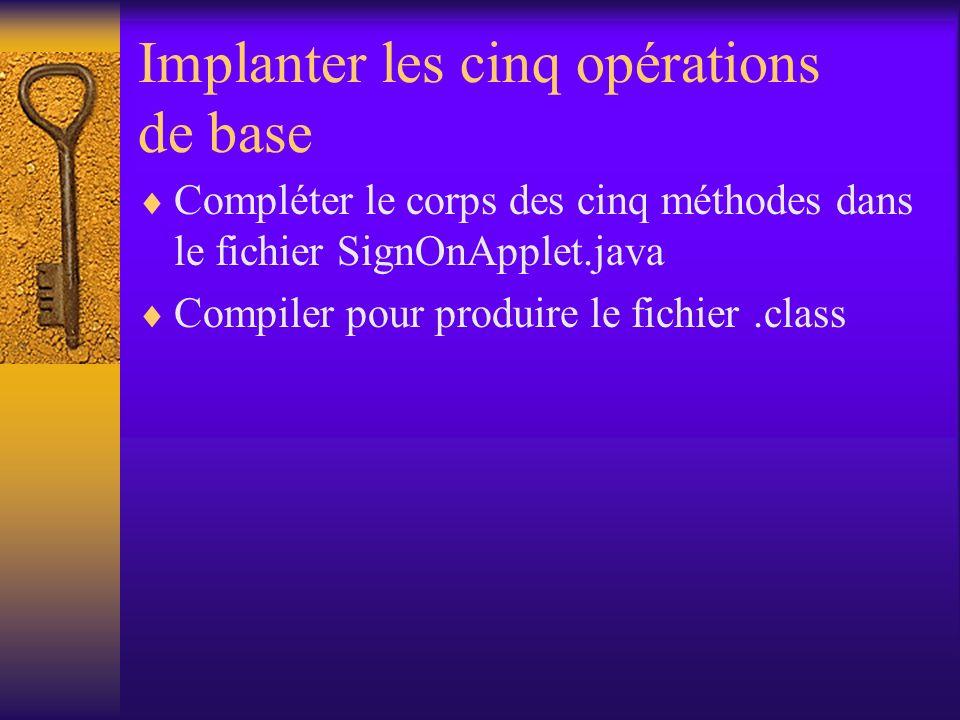 Implanter les cinq opérations de base Compléter le corps des cinq méthodes dans le fichier SignOnApplet.java Compiler pour produire le fichier.class